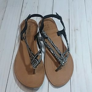 Charlotte Russe Black and White Strapy Sandals